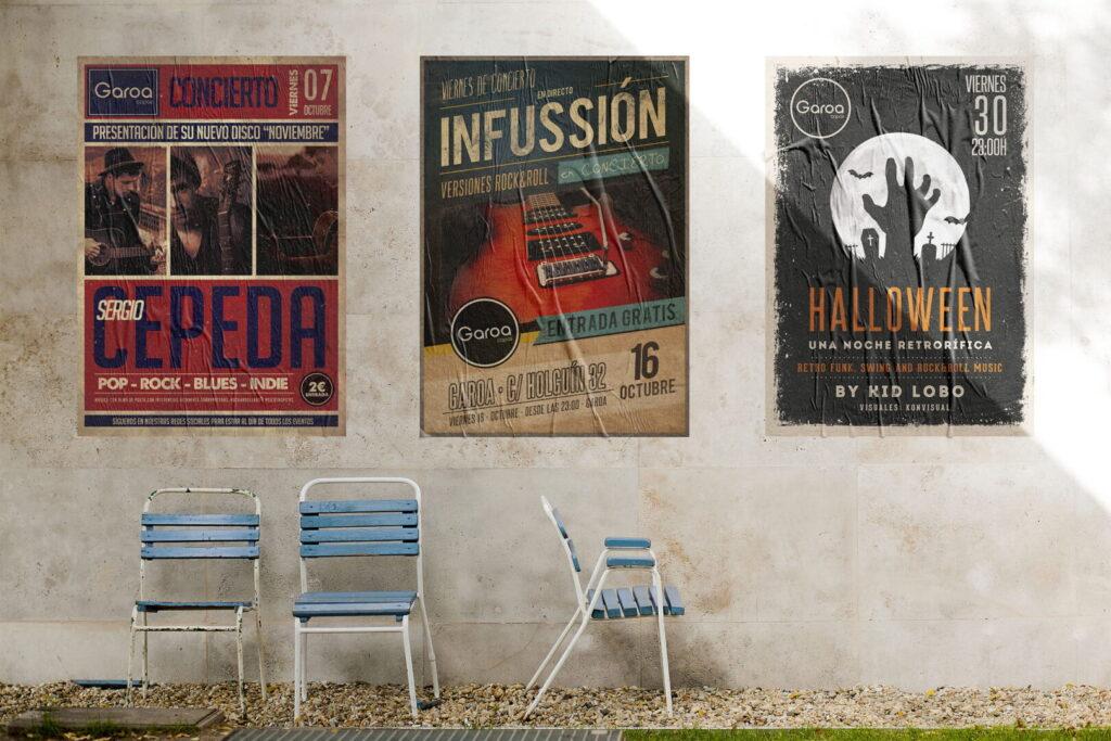 Varios carteles diseño gráfico